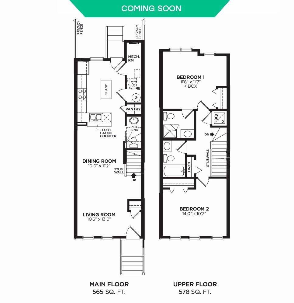Floorplan E - 2 Bedrooms